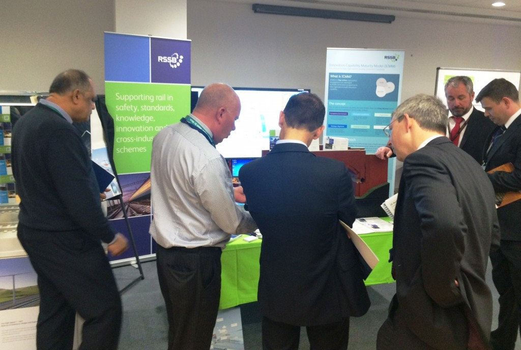 Delegates at Rail Innovation Showcase view Freyssinet's ElevArch® model