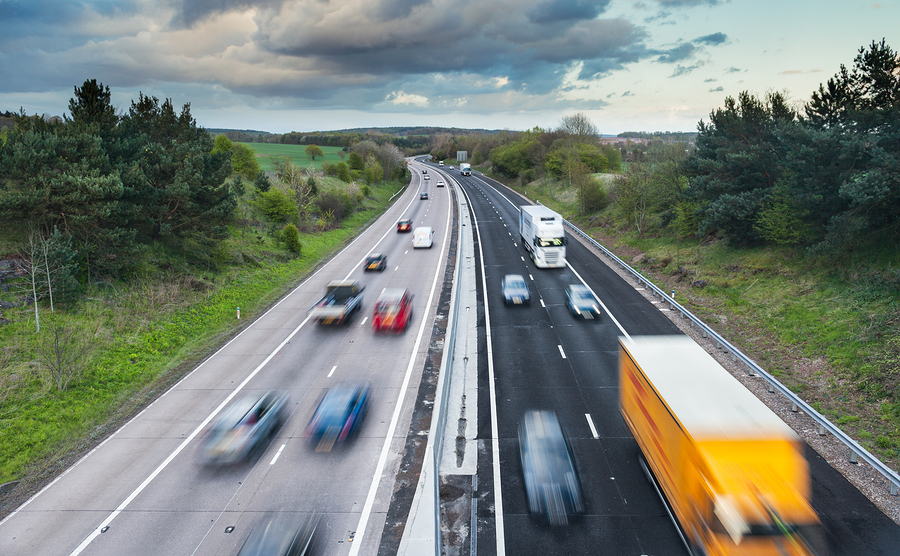 Cars driving on a dual carriageway